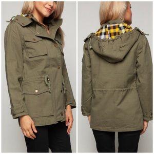 Jackets & Blazers - Olive Green Anorak Jacket with Hoodie